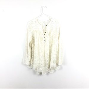 Anthropologie Floreat Cream Lace Buttoned Blouse